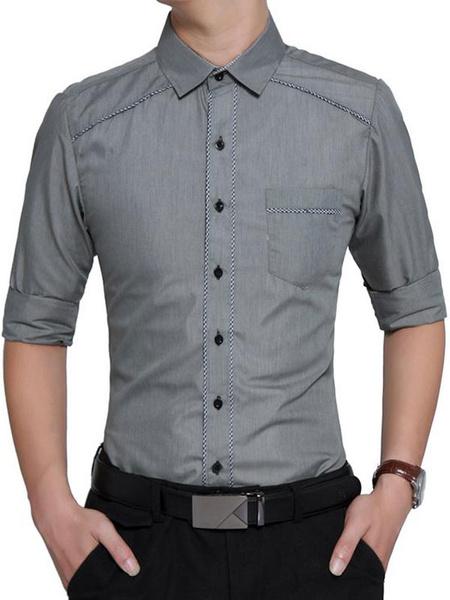 Milanoo Camisas casuales de algodon mezclado de cuello vuelto con manga larga de color-blocking Business casualPrimavera