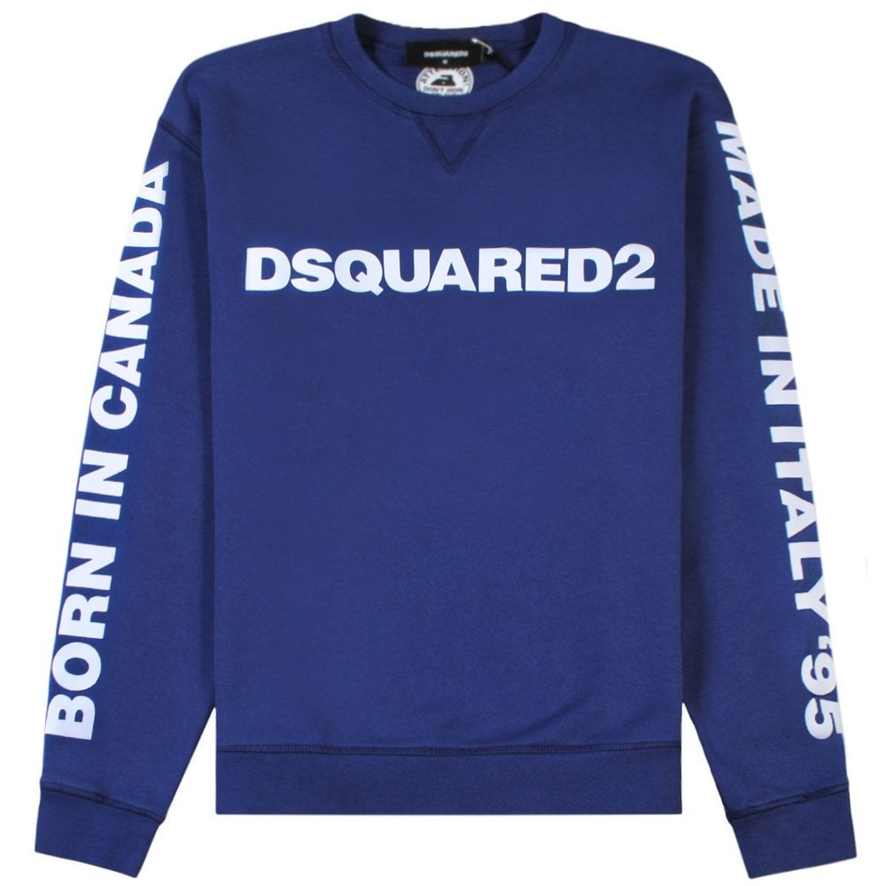DSquared2 Arm Logo Sweatshirt Blue Colour: BLUE, Size: EXTRA EXTRA LARGE