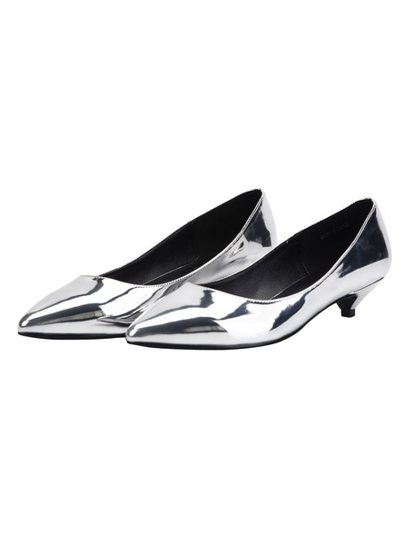 Milanoo Silver Dress Shoes Kitten Heel Pumps Plus Size Pointed Toe Slip On Shoes