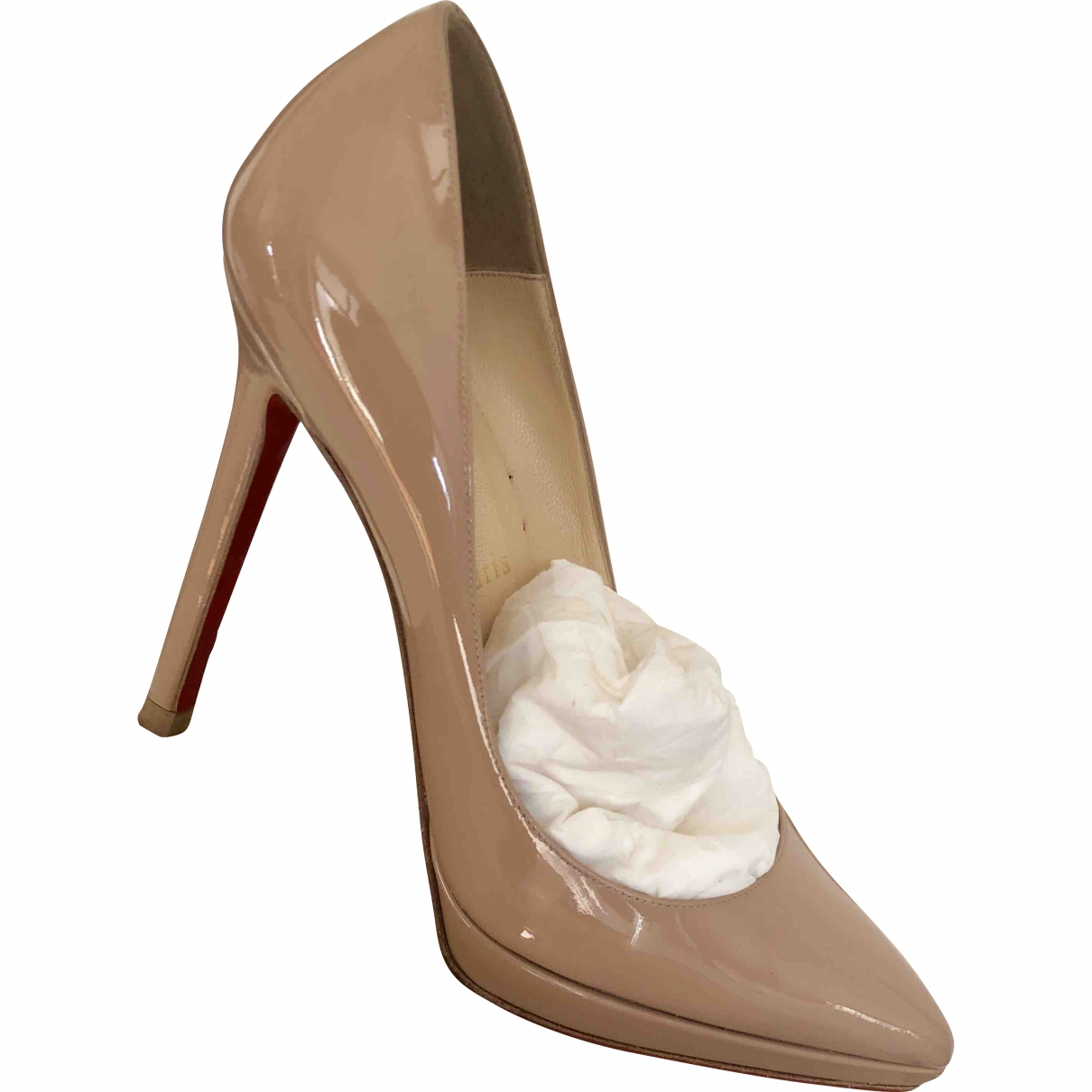 Christian Louboutin Pigalle Plato Beige Patent leather Heels for Women 37.5 EU