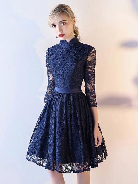 Milanoo Lace Prom Dresses Short Half Sleeve Dark Navy Graduation Party Dress