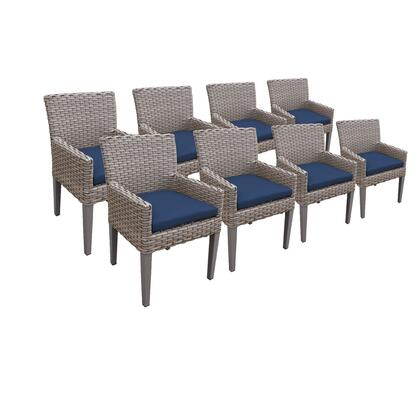 TKC297b-DC-4x-C-NAVY 8 Oasis Dining Chairs With Arms with 2 Covers: Grey and