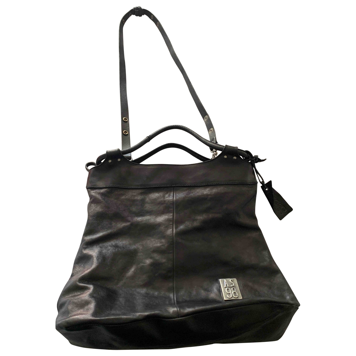 A.s.98 \N Black Leather handbag for Women \N