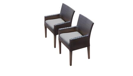 Belle Collection BELLE-TKC097b-DC-C-GREY 2 Dining Chairs With Arms - Wheat and Grey