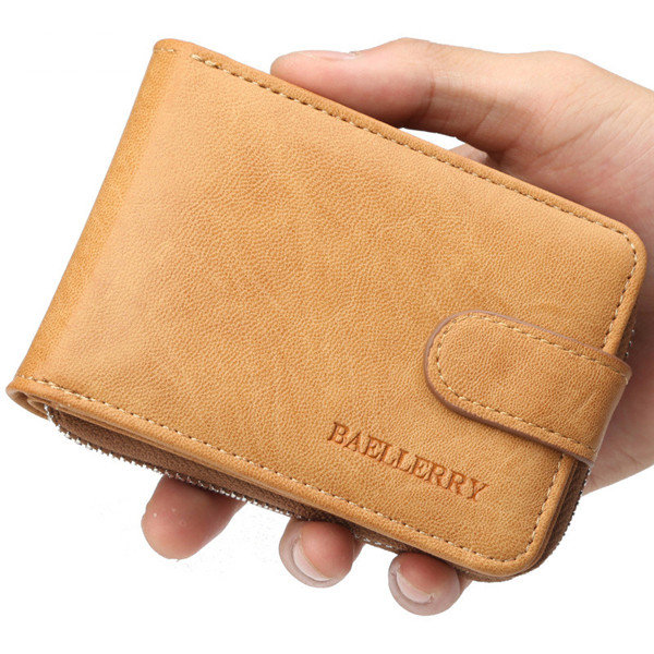 Faux Leather Business 8 Card Slot Organ Multi-function Trifold Casual Zipper Wallet For Men