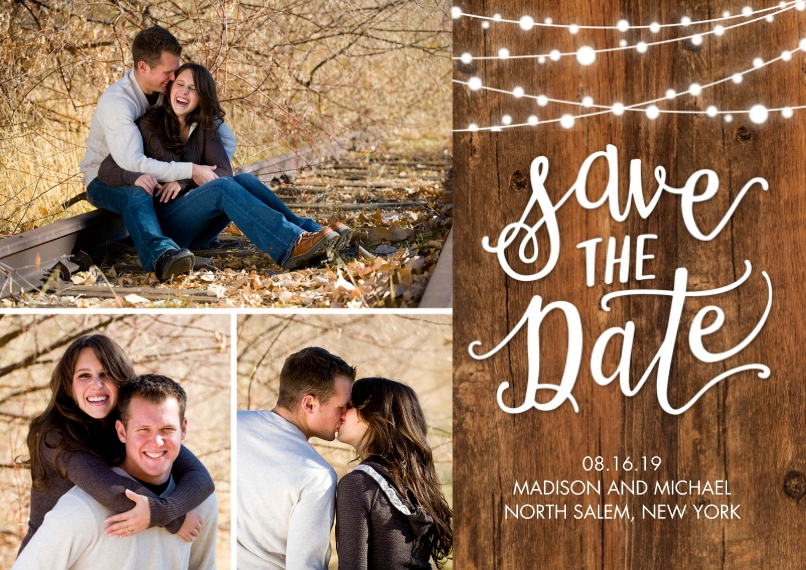 Save the Date 5x7 Cards, Premium Cardstock 120lb with Elegant Corners, Card & Stationery -Save the Date String of Lights by Tumbalina