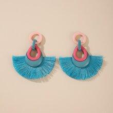 1pair Fan Fringe Earrings