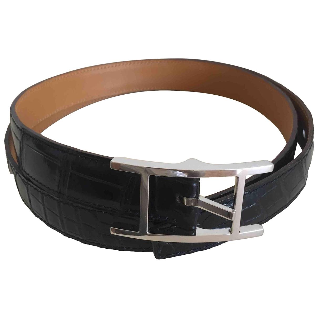Hermès Quentin Black Crocodile belt for Men 100 cm