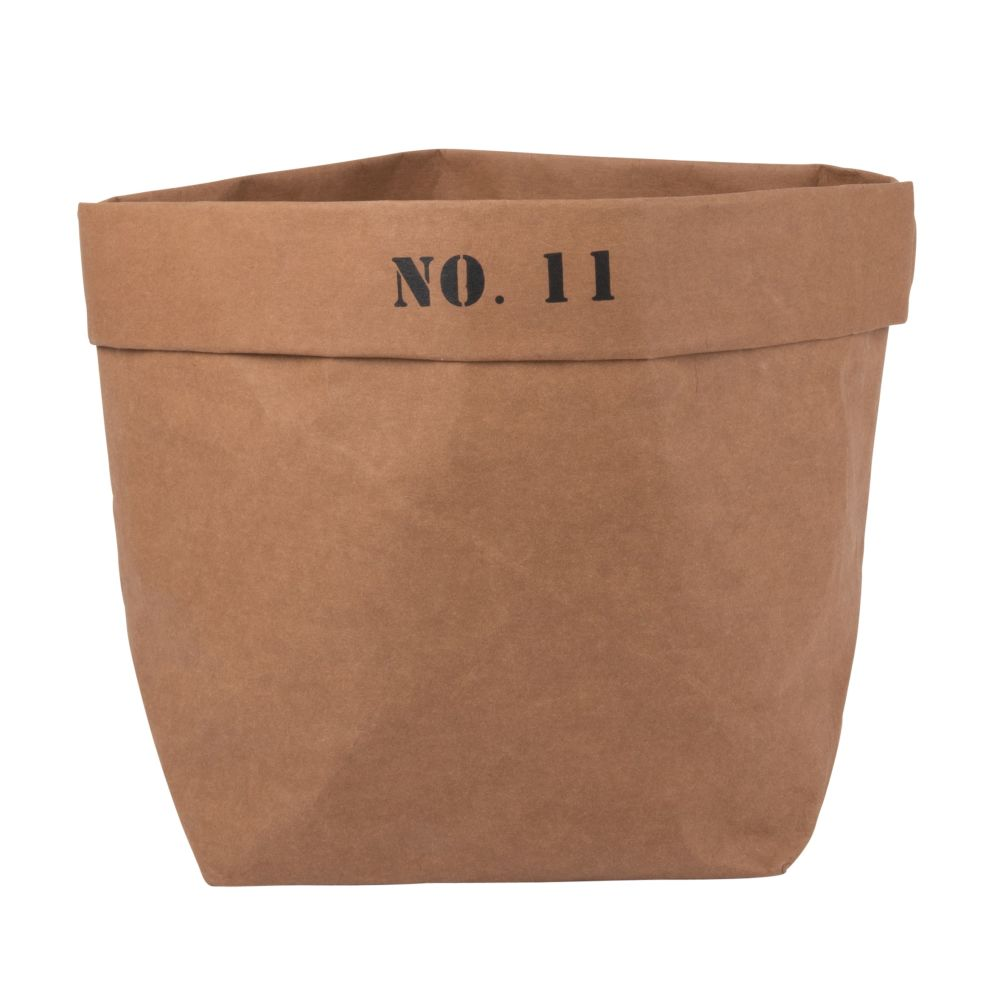 Korb aus Papier, braun mit Druckmotiv