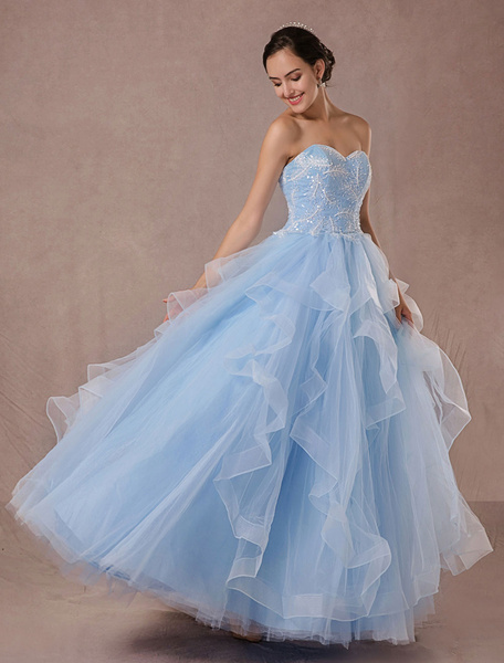 Milanoo Blue Wedding Dress Tulle Ball Gown Lace Applique Strapless Beading Princess Bridal Gown Backless Floor-length Pageant Dress