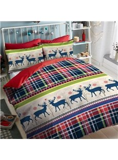 Navy Blue And Red Plaid Deer Pattern Polyester 4-Piece Bedding Sets/Duvet Cover