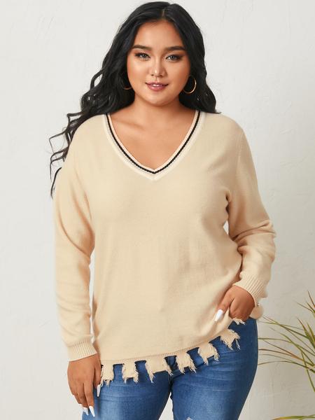 YOINS Plus Size V-neck Long Sleeves Sweater