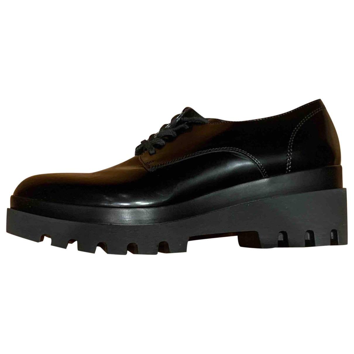 Non Signé / Unsigned \N Black Leather Lace ups for Women 40 EU