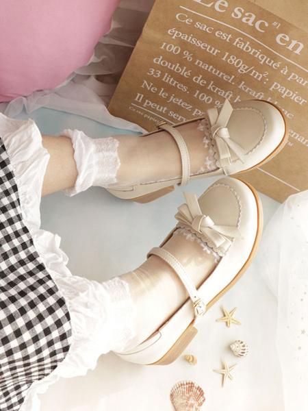 Milanoo Sweet Lolita Shoes Cowhide Bowknot Ecru White Lolita Pump