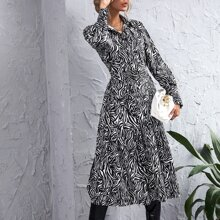 Shirt Kleid mit Zebra Streifen und Guertel