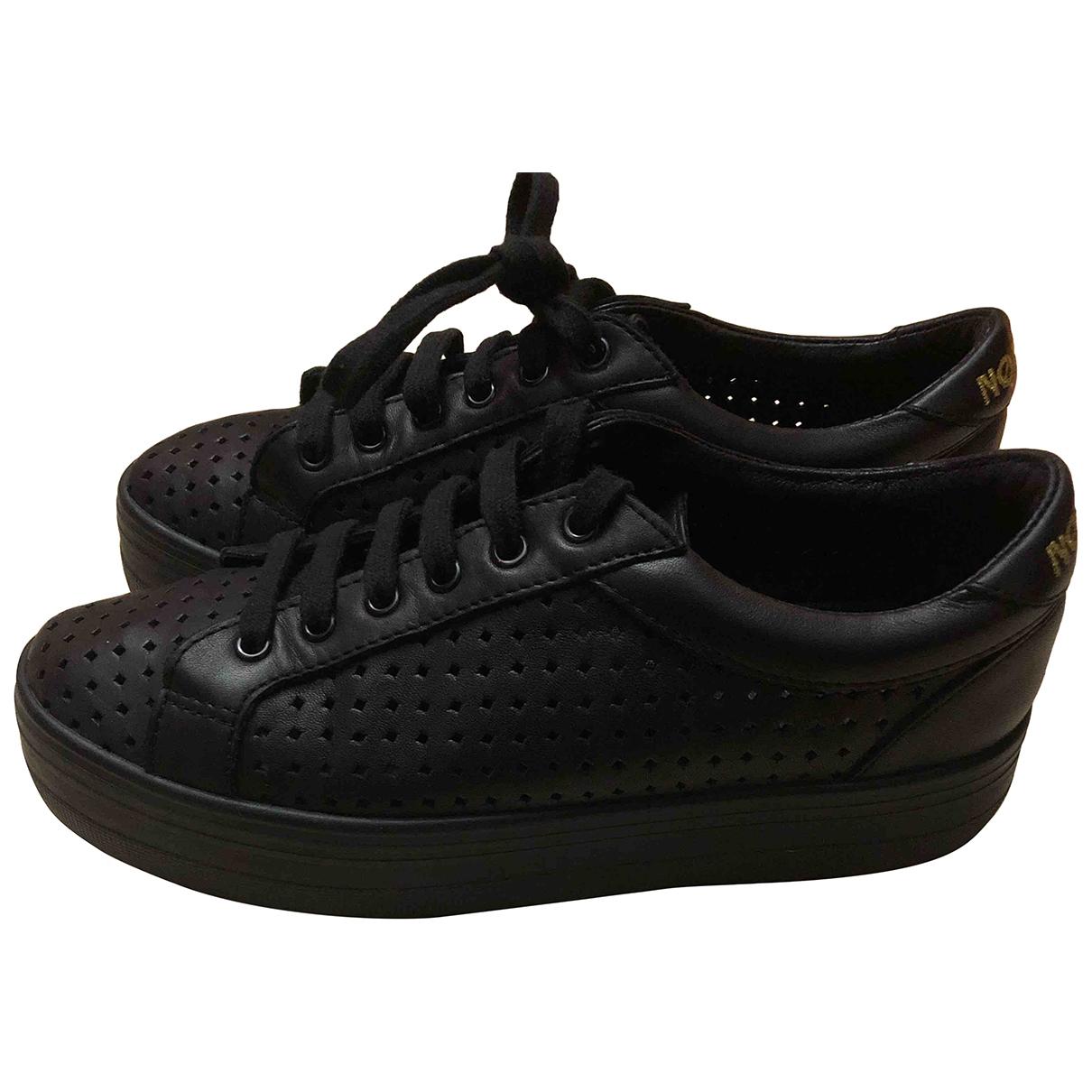 - Baskets   pour femme en cuir - noir