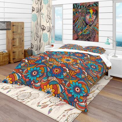 BED18991-T Designart 'Hand Drawn Pattern With Floral Elements' Bohemian & Eclectic Duvet Cover