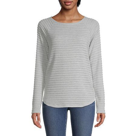 St. John's Bay-Womens Round Neck Long Sleeve T-Shirt, Petite Large , Gray