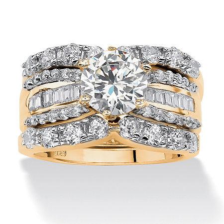 DiamonArt Womens 5 1/2 CT. T.W. White Cubic Zirconia 18K Gold Over Silver Round Bridal Set, 9 , No Color Family