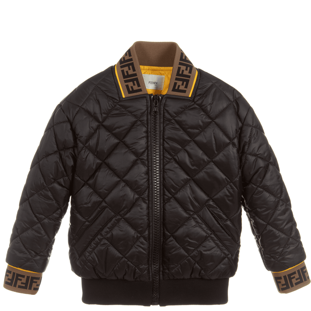 Fendi Kids Black Quilted Jacket Colour: BLACK, Size: 12 YEARS