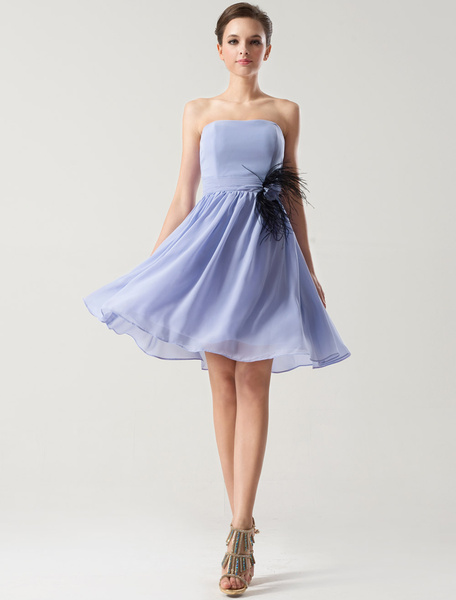 Milanoo Lavender Chiffon Short Bridesmaid Dress wirh Feather