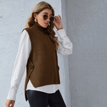 Button Side Sweater Vest Without Blouse