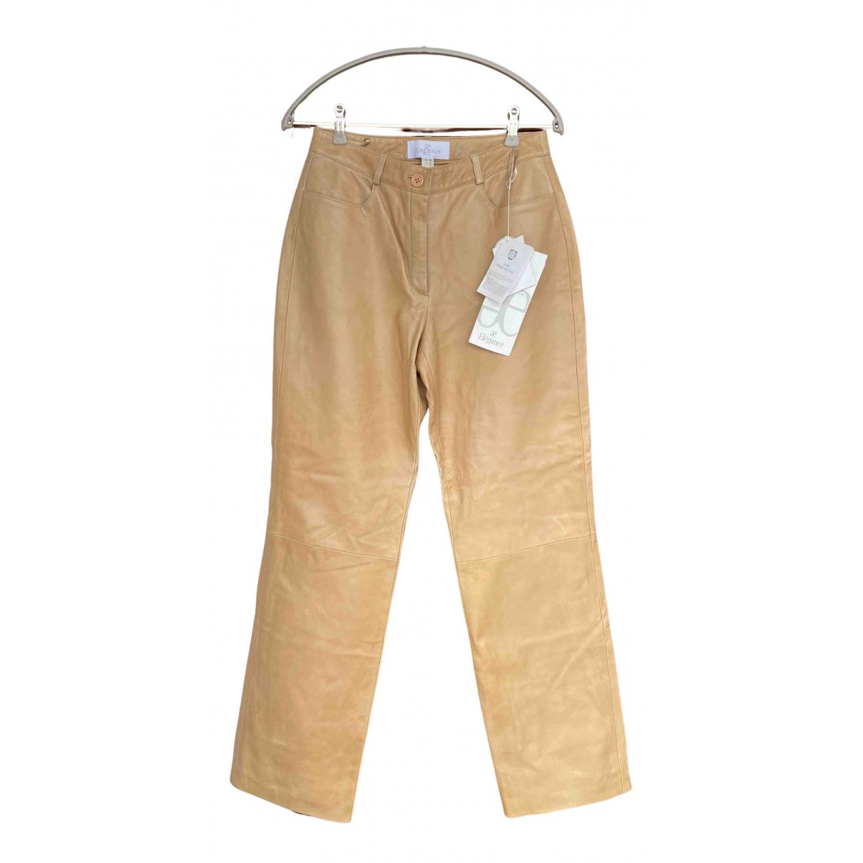 Elegance Paris N Beige Leather Trousers for Women 40 FR