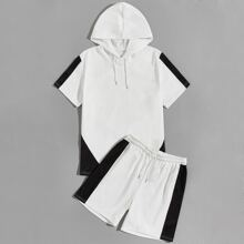 Men Colorblock Hooded Tee With Track Shorts