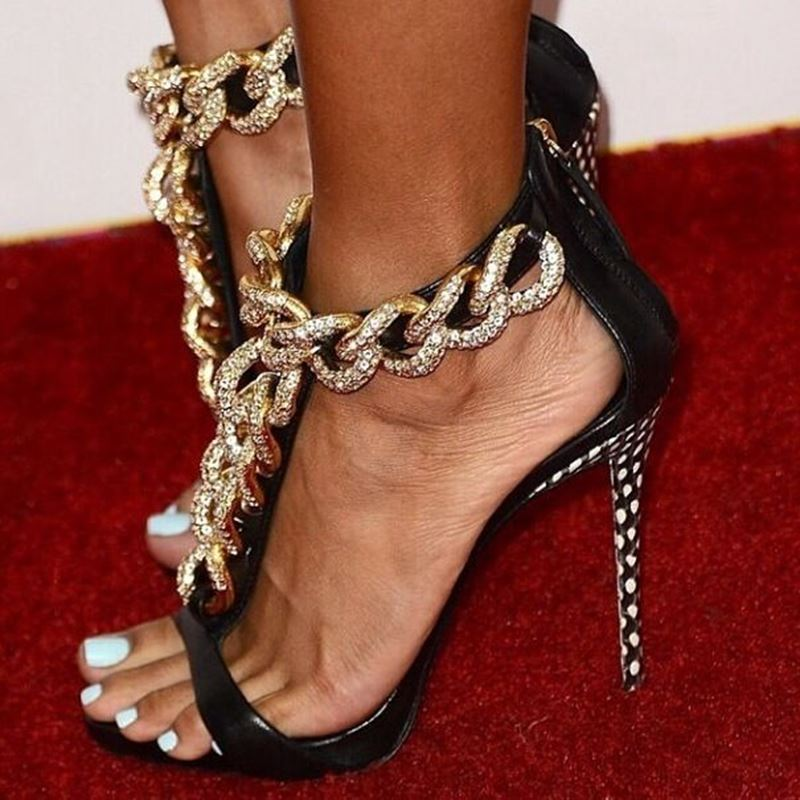 Ericdress Shining Black Sheepskin Rhinestones Metal Chain Sandals