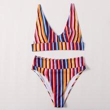 Bañador bikini de cintura alta de rayas vistosas