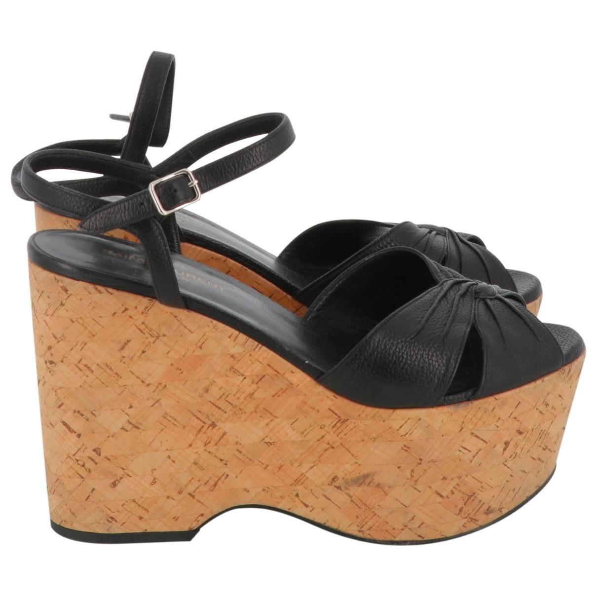 Saint Laurent \N Black Leather Sandals for Women 39.5 EU