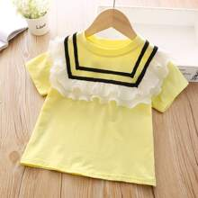 Toddler Girls Contrast Pleated Ruffle Striped Tee