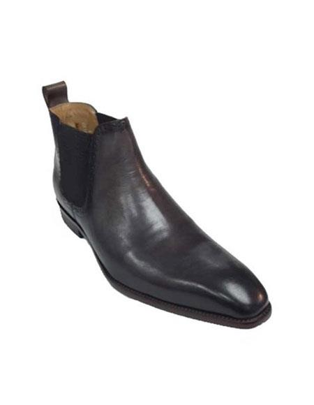 Mens Carrucci Burnished Calfskin Slip-On Low-Top Chelsea Boots Black