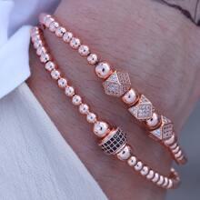 2 Stuecke Maenner Armband mit Strass Dekor und Perlen