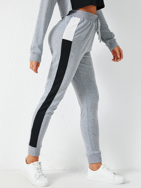YOINS Grey Patch Stripe Drawstring Waist Pants