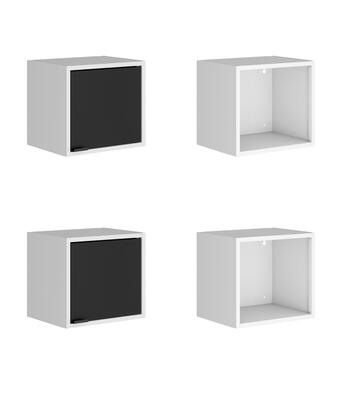 Smart Collection 4-12GMC2 4-Piece 13.77 Floating Cabinet and Display Shelf in White and Black