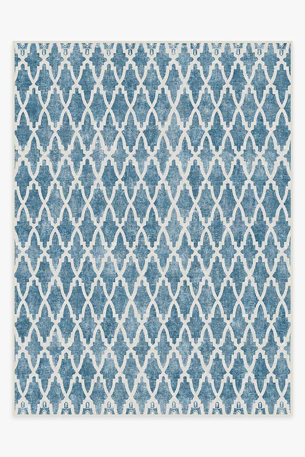 Washable Rug Cover | Soraya Trellis Blue Rug | Stain-Resistant | Ruggable | 9'x12'