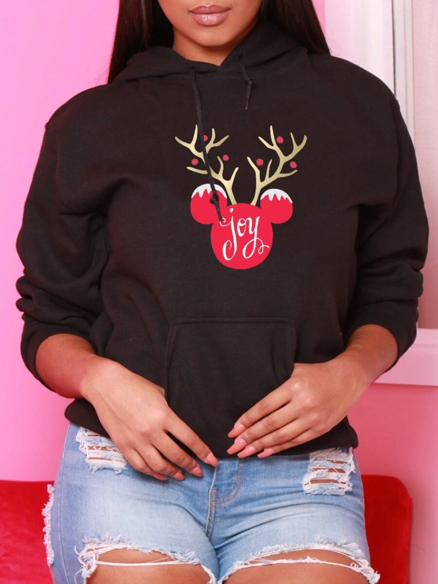 LW Lovely Casual Hooded Collar Print Black Hoodie