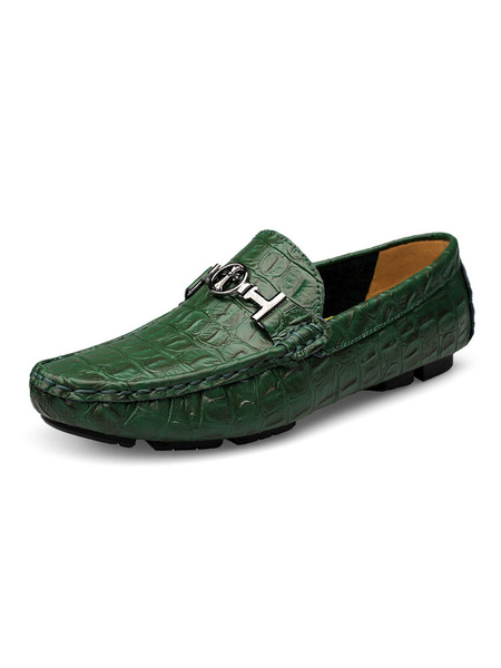 Milanoo Mens Green Loafers Shoes Round Toe Leather Driving Shoes