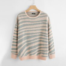 Plus Drop Shoulder Two Tone Striped Sweater
