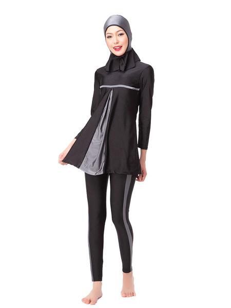 Milanoo Burkini Muslim Swimsuit Long Sleeve Two Tone Beach Bathing Suit