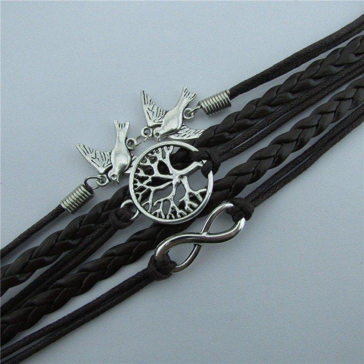 Vintage Love Bird Bracelet Alloy Tree Life Men Bracelet Multilayer Brace Fashion Style Bracelet