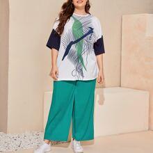 Plus Drop Shoulder Graphic Print Top & Wide Leg Pants Set