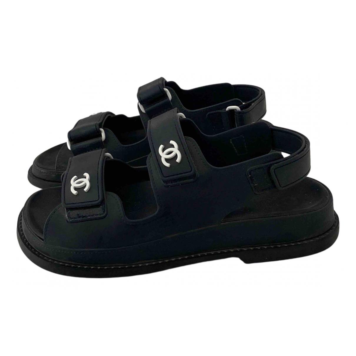 Chanel Dad Sandals Sandalen in  Marine Kautschuk