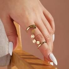 1pc Disc Decor Finger Chain Ring