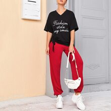 Slogan Graphic Drawstring Detail Tee and Joggers Set