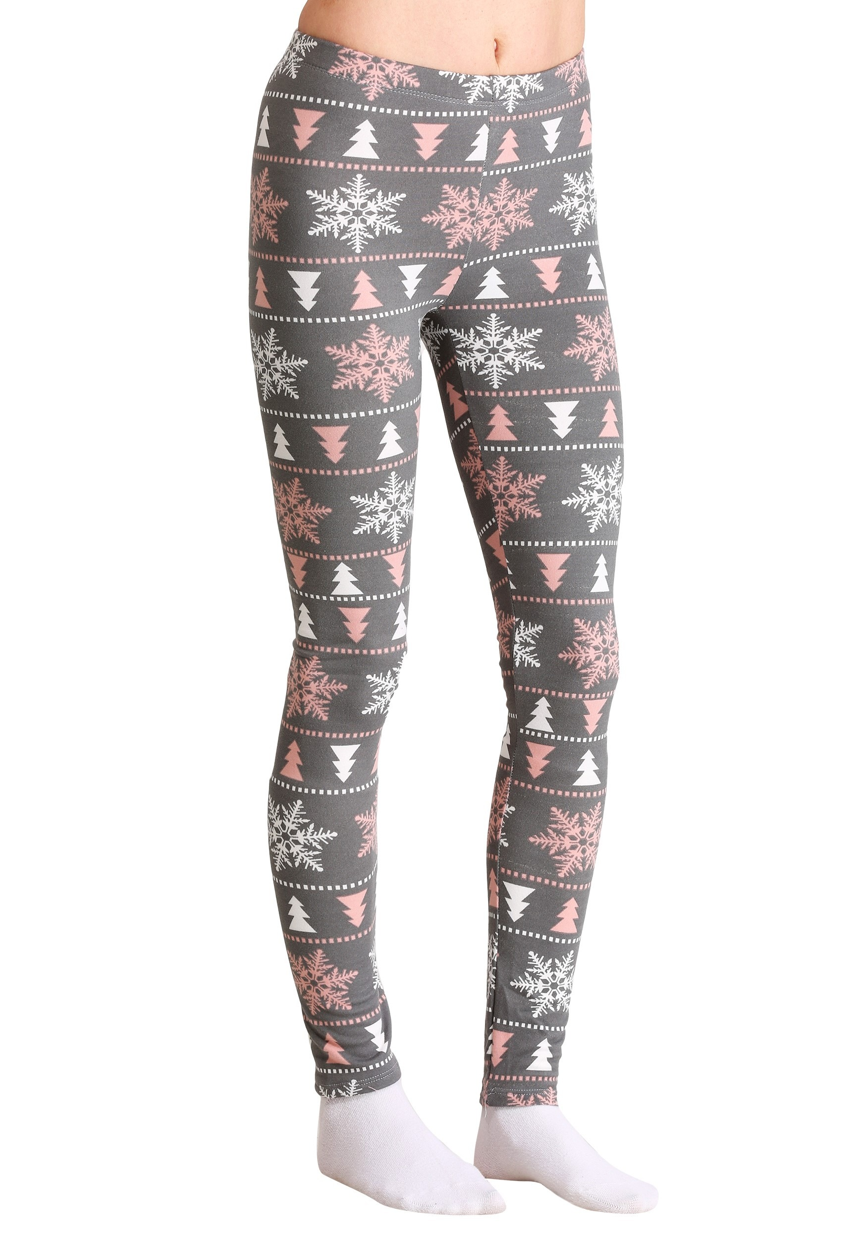 Ugly Christmas Pink & White Snowflake Pattern Gray Women's Leggings