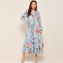 Kleid mit Blumen Muster, Raffungsaum und Laternenaermeln