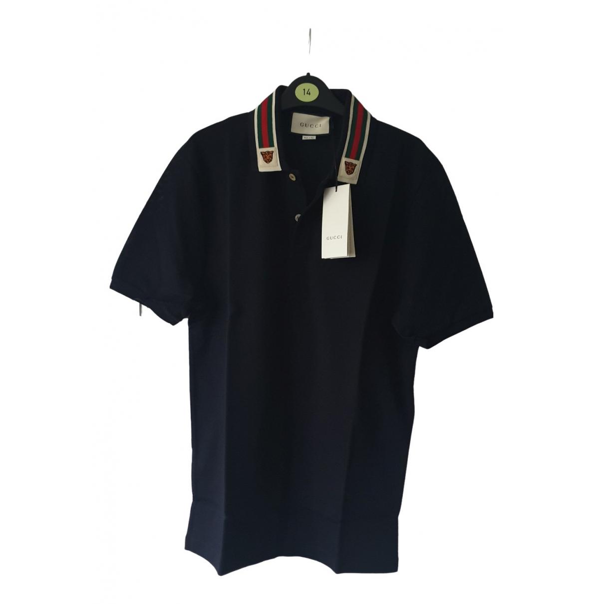 Polo en Algodon Azul Gucci