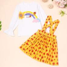 Toddler Girls Floral And Slogan Graphic Tee With Pinafore Skirt Set